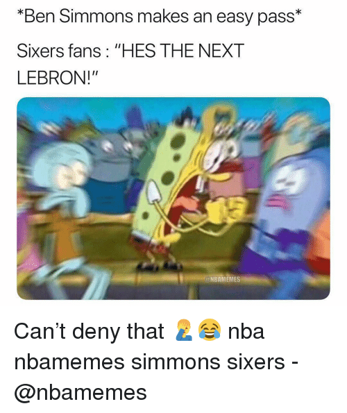 "Sixers: ""Ben Simmons makes an easy pass*  Sixers fans: ""HES THE NEXT  LEBRON!""  NBAMEMES Can't deny that 🤦‍♂️😂 nba nbamemes simmons sixers - @nbamemes"