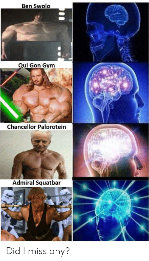 qui gon: Ben Swolo  Qui Gon Gym  Chancellor Palprotein  Admiral Squatbar Did I miss any?