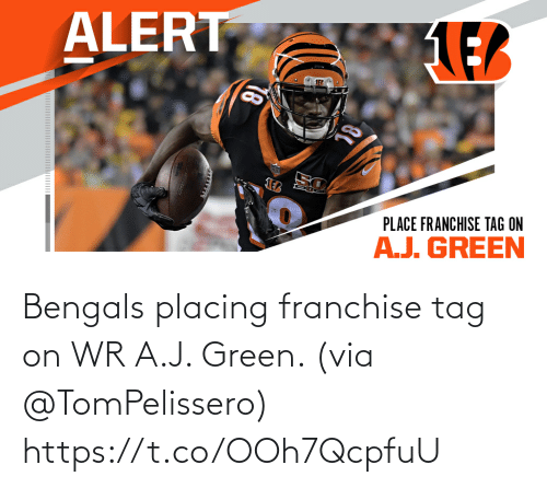 tag: Bengals placing franchise tag on WR A.J. Green. (via @TomPelissero) https://t.co/OOh7QcpfuU
