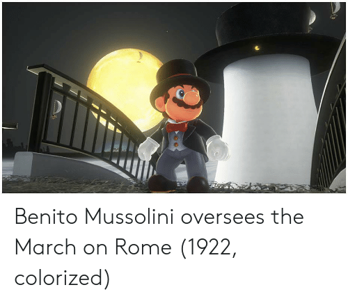 mussolini: Benito Mussolini oversees the March on Rome (1922, colorized)