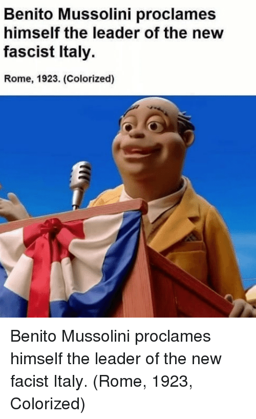 mussolini: Benito Mussolini proclames  himself the leader of the new  fascist Italy  Rome, 1923. (Colorized) Benito Mussolini proclames himself the leader of the new facist Italy. (Rome, 1923, Colorized)