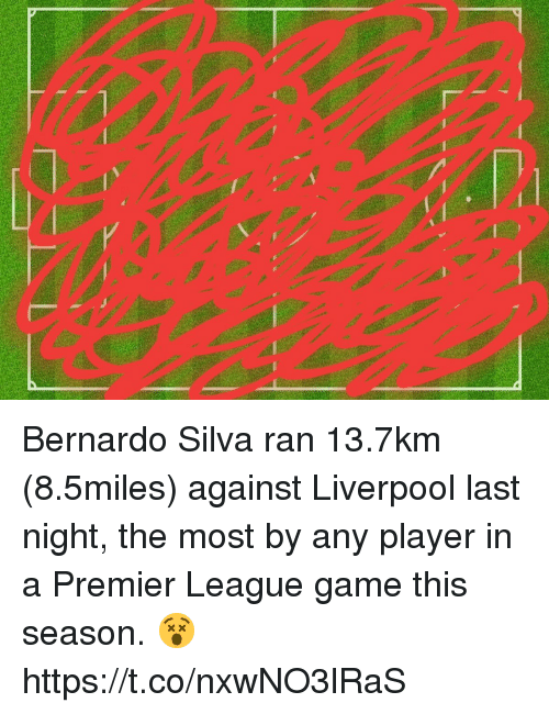 premier-league-game: Bernardo Silva ran 13.7km (8.5miles) against Liverpool last night, the most by any player in a Premier League game this season. 😵 https://t.co/nxwNO3lRaS