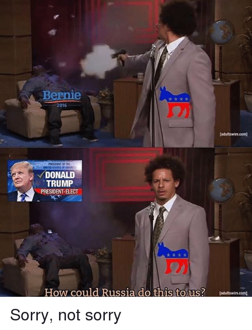 Donald Trump, Politics, and Sorry: Bernie  2016  [adultswim.com  PRESIDENT OF THE  DONALD  TRUMP  PRESIDENT-ELECT  How could Russia do this to us? leditswin.com. Sorry, not sorry