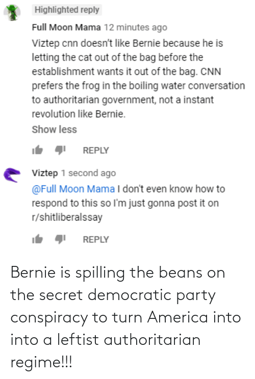 Democratic Party: Bernie is spilling the beans on the secret democratic party conspiracy to turn America into into a leftist authoritarian regime!!!