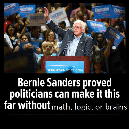 Bernie Sanders, Brains, and Logic: BERNIE SAN  DFR  S.COM  Bernie Sanders proved  politicians can make it this  far without math, logic, or brains