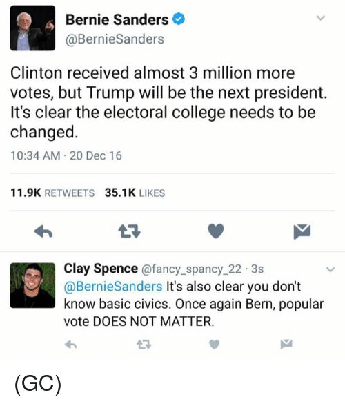 Bernie Sanders, College, and Memes: Bernie Sanders  Bernie Sanders  Clinton received almost 3 million more  votes, but Trump will be the next president.  It's clear the electoral college needs to be  changed.  10:34 AM 20 Dec 16  11.9K  RETWEETS  35.1K  LIKES  Clay Spence a fancy spancy 22 3s  @Bernie Sanders It's also clear you don't  know basic civics. Once again Bern, popular  vote DOES NOT MATTER. (GC)
