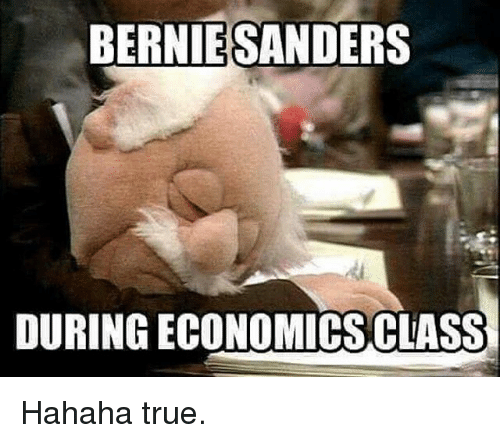 Bernie Sanders, Memes, and True: BERNIE SANDERS  DURING ECONOMICSCLASS Hahaha true.
