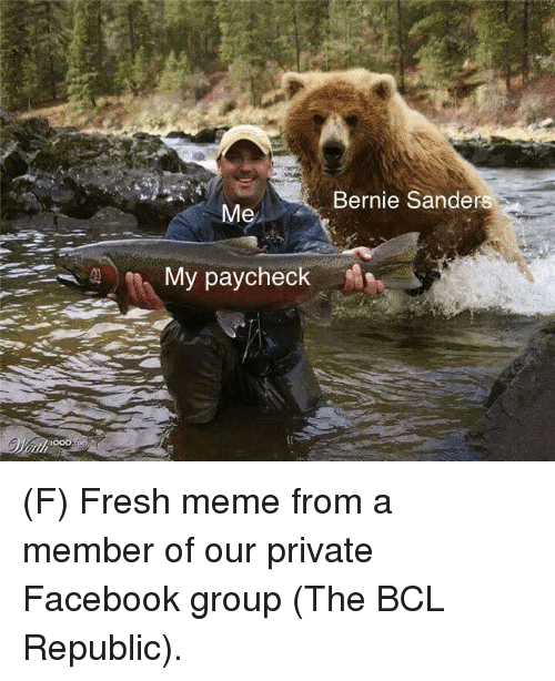 Bernie Sanders, Facebook, and Fresh: Bernie Sanders  My paycheck (F) Fresh meme from a member of our private Facebook group (The BCL Republic).