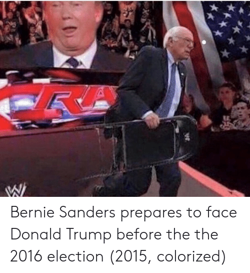 2016 Election: Bernie Sanders prepares to face Donald Trump before the the 2016 election (2015, colorized)