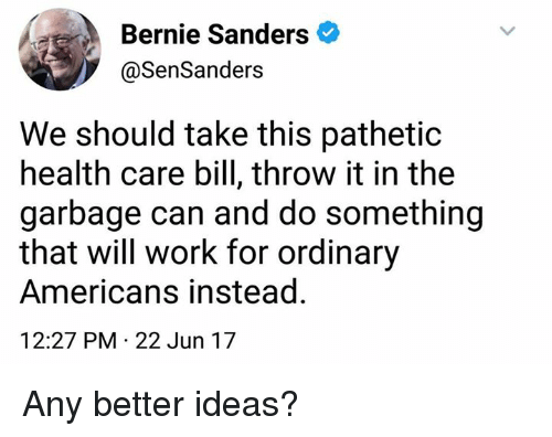 Bernie Sanders, Memes, and Work: Bernie Sanders  @Sen Sanders  We should take this pathetic  health care bill, throw it in the  garbage can and do something  that will work for ordinary  Americans instead.  12:27 PM 22 Jun 17 Any better ideas?