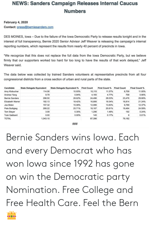 Democratic Party: Bernie Sanders wins Iowa. Each and every Democrat who has won Iowa since 1992 has gone on win the Democratic party Nomination. Free College and Free Health Care. Feel the Bern👑