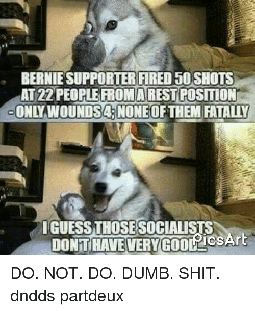 Dumb, Memes, and Shit: BERNIE SUPPORTER FIRED50SHOTS  ATZZPEOPLE FROMARESTPOSITIONT  ONLY WOUNDSA.NONEOFTHEM FATALLY  IGUESS THOSE SOCIALISTS  TCSAr  DONT HAVEVERY GOOLLC DO. NOT. DO. DUMB. SHIT. dndds partdeux