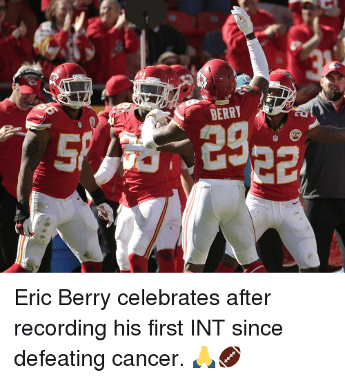 eric berry: BERRY Eric Berry celebrates after recording his first INT since defeating cancer. 🙏🏈