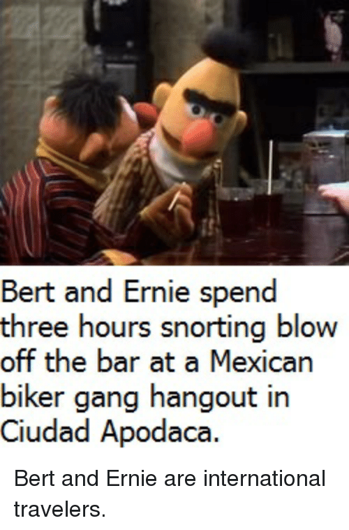 bert and ernie spend three hours snorting blow off the 2770155 bert and ernie spend three hours snorting blow off the bar at a,Biker Gang Meme