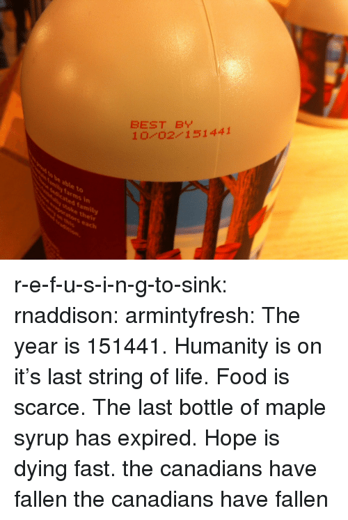 stoke: BEST B  10 0211441  to  dicated family  stoke thei  vaporators each  mily farms in r-e-f-u-s-i-n-g-to-sink:  rnaddison:  armintyfresh:  The year is 151441. Humanity is on it's last string of life. Food is scarce. The last bottle of maple syrup has expired. Hope is dying fast.  the canadians have fallen  the canadians have fallen