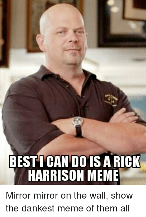 Meme, Memes, and Best: BEST CANDO IS A RICK  HARRISON MEME Mirror mirror on the wall, show the dankest meme of them all