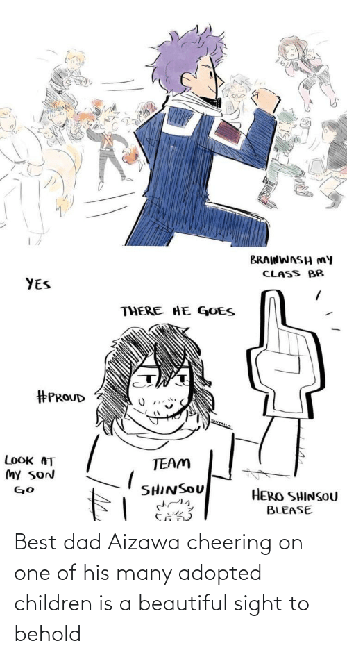 cheering: Best dad Aizawa cheering on one of his many adopted children is a beautiful sight to behold