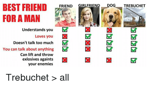 trebuchet: BEST FRIEND  FRIEND  GIRLFRIEND  DOG  TREBUCHET  FOR A MAN  Understands you  M  Loves you  Doesn't talk too much  M  You can talk about anything  Ea M  Can lift and throw  exlosives againts  your enemies Trebuchet > all