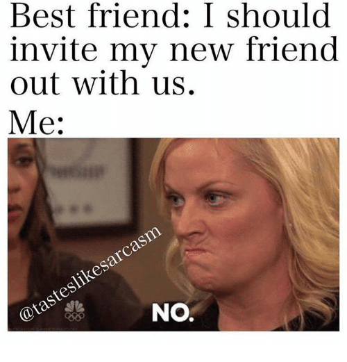 best friend: Best friend: I should  invite my new friend  out with us.  Me:  sarcasm  slike @tastes  NO.