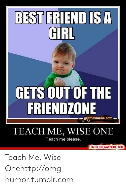 Girl Gets: BEST FRIEND IS A  GIRL  GETS OUT OF THE  FRIENDZONE  Momestache.com  TEACH ME, WISE ONE  Teach me please.  TASTE OF AWESOME.COM Teach Me, Wise Onehttp://omg-humor.tumblr.com