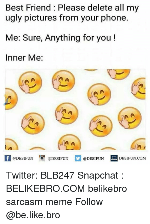 Be Like, Best Friend, and Meme: Best Friend: Please delete all my  ugly pictures from your phone.  Me: Sure, Anything for you  Inner Me:  1A  K @DESIFUN 증@DESIFUN @DESIFUN DESIFUN.COM Twitter: BLB247 Snapchat : BELIKEBRO.COM belikebro sarcasm meme Follow @be.like.bro