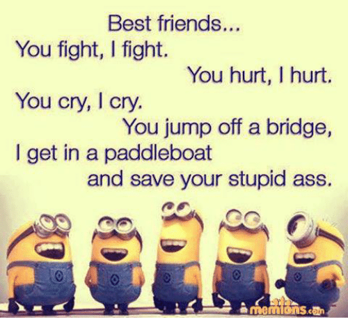 Ass, Friends, and Memes: Best friends...  You fight, l fight.  You hurt, I hurt.  You cry, I cry.  You jump off a bridge,  I get in a paddleboat  and save your stupid ass.  can