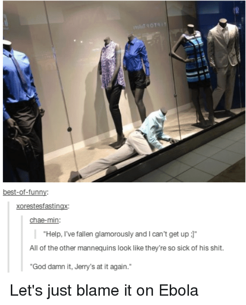 "Help Ive Fallen: best-of-funn  Xorestesfastingx  chae-min  Help, I've fallen glamorously and l can't get up  J""  All of the other mannequins look like they're so sick of his shit  ""God damn it, Jerry's at it again. Let's just blame it on Ebola"