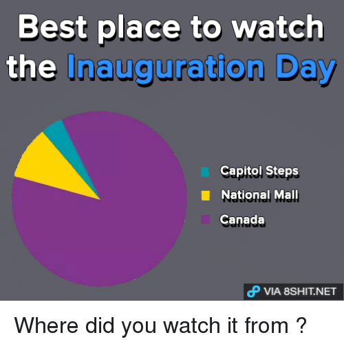 Inauguration Day: Best place to watch  the Inauguration Day  Capitol Steps  National Mall  Canada  dP VIA 8SHIT.NET Where did you watch it from ?
