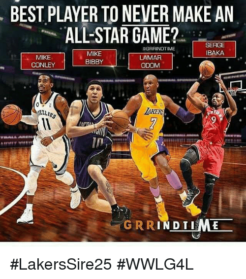 mike conley: BEST PLAYER TO NEVER MAKE AN  ALL-STAR GAME?  SERGE  BAKA  匪GRRINDTIME  MIKE  CONLEY  MIKE  BIBBY  LAMAR  ODOM. '  AKER  in  GRRINDTIME #LakersSire25 #WWLG4L
