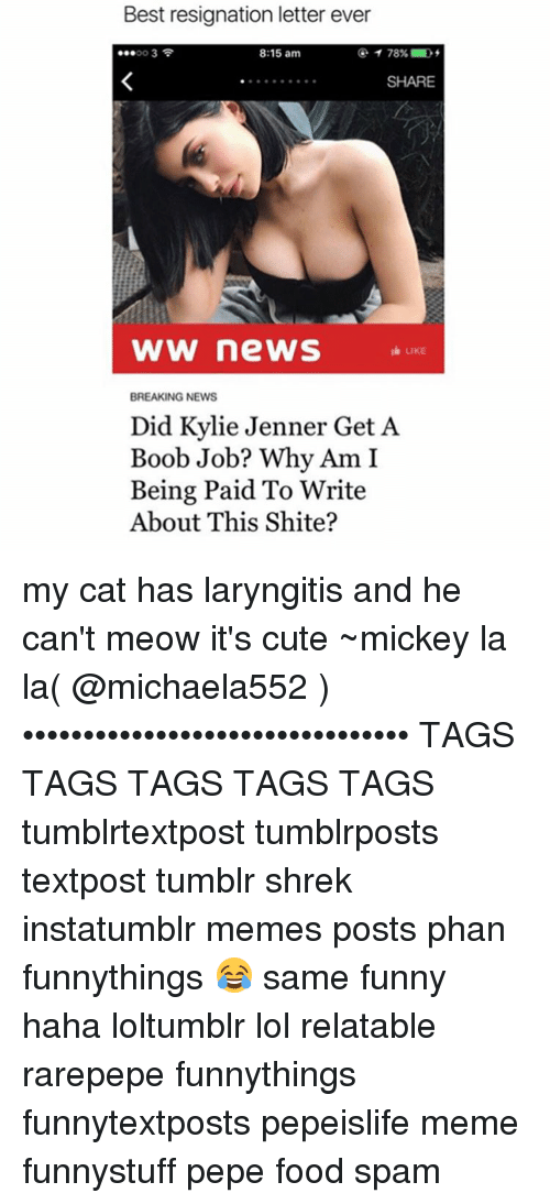 Memes, 🤖, and Cat: Best resignation letter ever  8:15 am  SHARE  WW news  LIKE  BREAKING NEWS  Did Kylie Jenner Get A  Boob Job? Why Am I  Being Paid To Write  About This Shite? my cat has laryngitis and he can't meow it's cute ~mickey la la( @michaela552 )•••••••••••••••••••••••••••••••• TAGS TAGS TAGS TAGS TAGS tumblrtextpost tumblrposts textpost tumblr shrek instatumblr memes posts phan funnythings 😂 same funny haha loltumblr lol relatable rarepepe funnythings funnytextposts pepeislife meme funnystuff pepe food spam