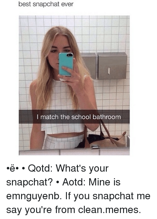Funny, Meme, and Memes: best snapchat ever  I match the school bathroom •ë• • Qotd: What's your snapchat? • Aotd: Mine is emnguyenb. If you snapchat me say you're from clean.memes.