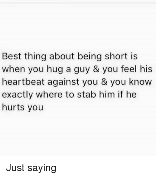 Memes, Best, and 🤖: Best thing about being short is  when you hug a guy& you feel his  heartbeat against you & you know  exactly where to stab him if he  hurts you Just saying