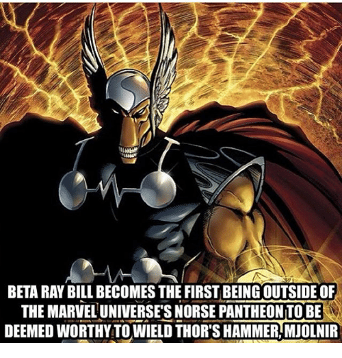 mjolnir: BETA RAY BILL BECOMES THE FIRST BEING OUTSIDE OF  THE MARVEL UNIVERSE'S NORSE PANTHEON TO BE  DEEMED WORTHY TO WIELD THOR'S HAMMER,MJOLNIR