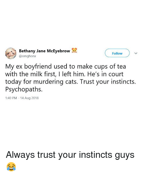 Cats, Memes, and Today: Bethany Jane McEyebrow  Follow  @omghonx  My ex boyfriend used to make cups of tea  with the milk first, I left him. He's in court  today for murdering cats. Trust your instincts  Psychopaths  1:40 PM - 14 Aug 2018 Always trust your instincts guys 😂
