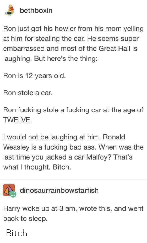 weasley: bethboxin  Ron just got his howler from his mom yelling  at him for stealing the car. He seems super  embarrassed and most of the Great Hall is  laughing. But here's the thing:  Ron is 12 years old  Ron stole a car.  Ron fucking stole a fucking car at the age of  TWELVE.  I would not be laughing at him. Ronald  Weasley is a fucking bad ass. When was the  last time you jacked a car Malfoy? That's  what I thought. Bitch.  dinosaurrainbowstarfish  Harry woke up at 3 am, wrote this, and went  back to sleep Bitch