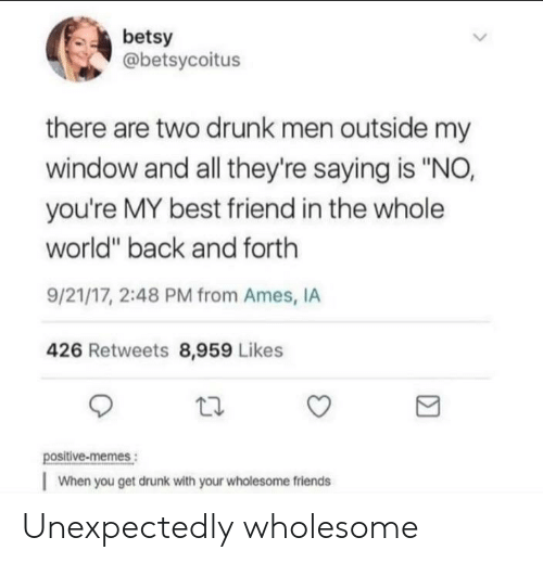"""youre my best friend: betsy  @betsycoitus  there are two drunk men outside my  window and all they're saying is """"NO,  you're MY best friend in the whole  world"""" back and forth  9/21/17, 2:48 PM from Ames, IA  426 Retweets 8,959 Likes  positive-memes:  When you get drunk with your wholesome friends Unexpectedly wholesome"""