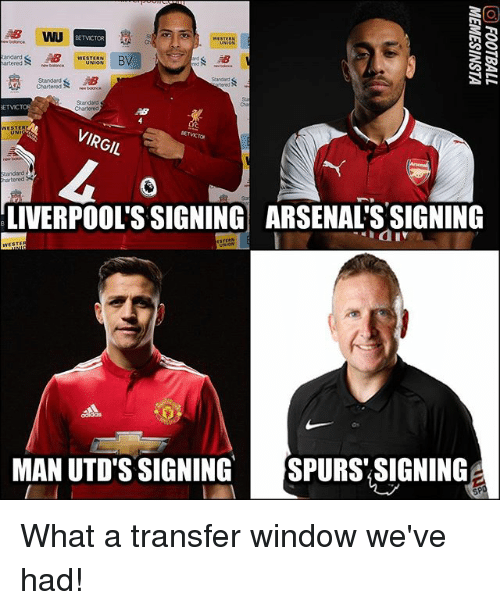 Virgil: BETVCTOR  St  Ch  arteredbe  Stand  Chartered  Chartere  VIRGIL  andard  hartered  LIVERPOOL'S SIGNING ARSENAL'S SIGNING  MAN UTD'S SIGNINGSPURS SIGNING What a transfer window we've had!