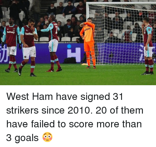 Goals, Memes, and 🤖: betway  betw  14 West Ham have signed 31 strikers since 2010. 20 of them have failed to score more than 3 goals 😳