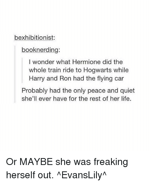 train ride: bexhibitionist  booknerding:  I wonder what Hermione did the  whole train ride to Hogwarts while  Harry and Ron had the flying car  Probably had the only peace and quiet  she'll ever have for the rest of her life. Or MAYBE she was freaking herself out.  ^EvansLily^