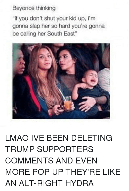 """Beyonce, Memes, and Pop: Beyoncé thinking  """"If you don't shut your kid up, i'm  gonna slap her so hard you're gonna  be calling her South East"""" LMAO IVE BEEN DELETING TRUMP SUPPORTERS COMMENTS AND EVEN MORE POP UP THEY'RE LIKE AN ALT-RIGHT HYDRA"""