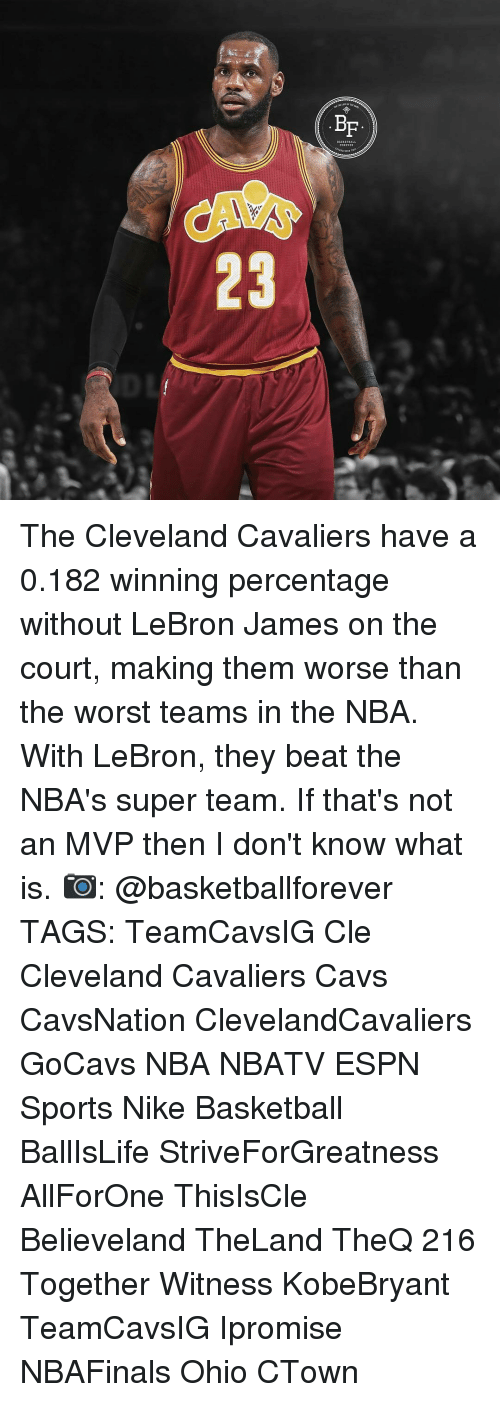Basketball, Cavs, and Cleveland Cavaliers: BF  23 The Cleveland Cavaliers have a 0.182 winning percentage without LeBron James on the court, making them worse than the worst teams in the NBA. With LeBron, they beat the NBA's super team. If that's not an MVP then I don't know what is. 📷: @basketballforever TAGS: TeamCavsIG Cle Cleveland Cavaliers Cavs CavsNation ClevelandCavaliers GoCavs NBA NBATV ESPN Sports Nike Basketball BallIsLife StriveForGreatness AllForOne ThisIsCle Believeland TheLand TheQ 216 Together Witness KobeBryant TeamCavsIG Ipromise NBAFinals Ohio CTown