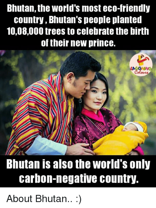 Bhutan: Bhutan, the World's most eco-friendly  country, Bhutan's people planted  10,08,000 trees to celebrate the birth  of their new prince.  Bhutan is also the World's only  carbon-negative country. About Bhutan.. :)