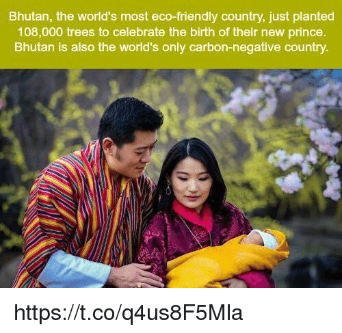 Bhutan: Bhutan, the world's most eco-friendly country, just planted  108,000 trees to celebrate the birth of their new prince.  Bhutan is also the world's only carbon-negative country. https://t.co/q4us8F5Mla