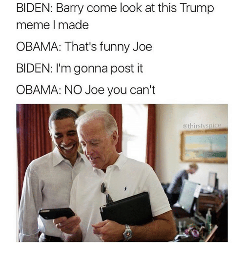 Joe Biden, Memes, and Thirsty: BIDEN: Barry come look at this Trump  meme I made  OBAMA: That's funny Joe  BIDEN: I'm gonna post it  OBAMA: NO Joe you can't  @thirsty spice