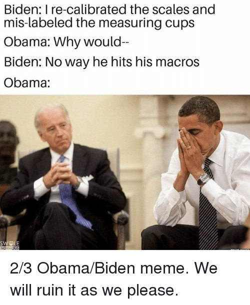 Obama Biden: Biden: I re-calibrated the scales and  mis-labeled the measuring cups  Obama: Why would-  Biden: Noway he hits his macros  Obama:  SWELE  NORM  OUS 2/3 Obama/Biden meme. We will ruin it as we please.