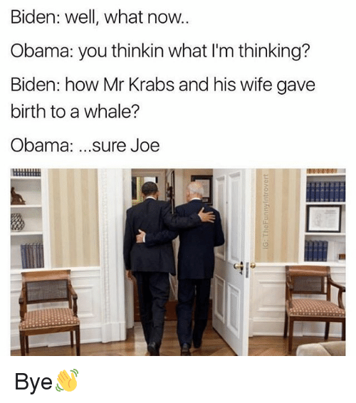 Memes, Mr. Krabs, and 🤖: Biden: well, what now.  Obama: you thinkin what I'm thinking?  Biden: how Mr Krabs and his wife gave  birth to a whale?  Obama  sure Joe Bye👋