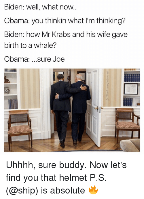 helmet: Biden: well, what now  Obama: you thinkin what l'm thinking?  Biden: how Mr Krabs and his wife gave  birth to a whale?  Obama  sure Joe Uhhhh, sure buddy. Now let's find you that helmet P.S. (@ship) is absolute 🔥