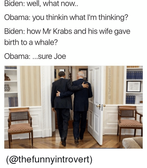 Memes, Mr. Krabs, and 🤖: Biden: Well, what now  Obama: you thinkin what l'm thinking?  Biden: how Mr Krabs and his wife gave  birth to a whale?  Obama  sure Joe (@thefunnyintrovert)