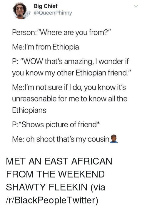 "Ethiopians: Big Chief  @QueenPhinny  Person.:""Where are you from?""  Me:l'm from Ethiopia  P: ""WOW that's amazing, I wonder if  you know my other Ethiopian friend.""  Me:l'm not sure if I do, you know it's  unreasonable for me to know all the  Ethiopians  P:*Shows picture of friend*  Me: oh shoot that's my cousin2 <p>MET AN EAST AFRICAN FROM THE WEEKEND SHAWTY FLEEKIN (via /r/BlackPeopleTwitter)</p>"