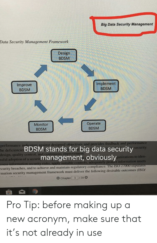 Making Up: Big Data Security Management  Data Security Management Framework  Design  BDSM  Improve  BDSM  Implement  BDSM  Monitor  BDSM  Operate  BDSM  or  ainst designed obiectives and provides  performance in  he deficiencie  design, quality control  ssful adoption of a securit  BDSM stands for big data security  management, obviously  urity  anizations to iden  ble controls, adequately proteet information assets  see  improvem  curity breaches, and to achieve and maintain regulatory compliarn  mation security management framework must deliver the following desirable outcomes (ISOr  G Chapter 3 20 Pro Tip: before making up a new acronym, make sure that it's not already in use